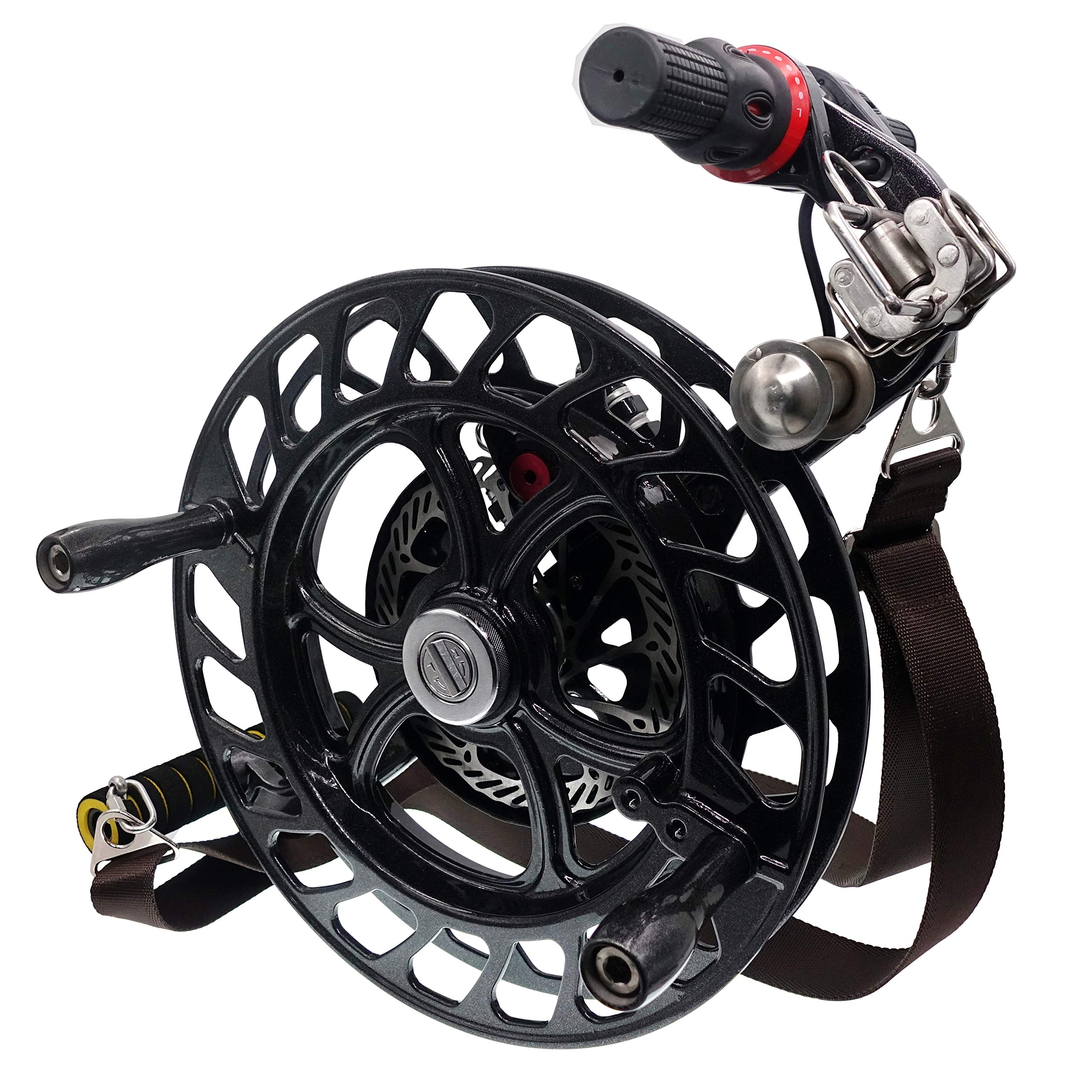 emma kites 12.6'' Black Kite Winder Reel with Disc Brake Shoulder Strap 7 Rollers for Kite Line in and Out by emma kites (Image #1)