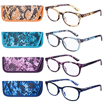 e83262389f6 Image Unavailable. Image not available for. Color  EYEGUARD Reading Glasses  4 Pack Quality Fashion colorful Readers ...