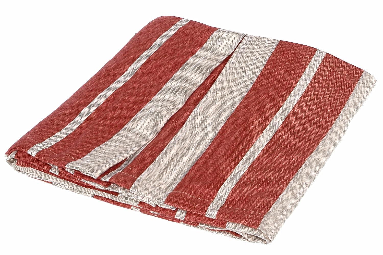 Kathrynアイルランドマンチェスターイタリアストライプリネン装飾ベッドスカート、レッド クイーン レッド KIMDBSK-Q B004U4AR9G  クイーン