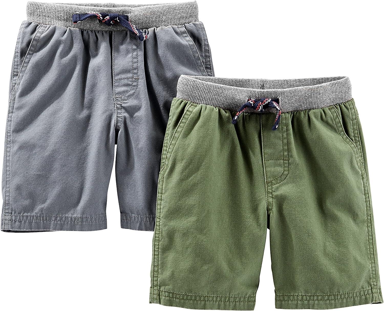 8 Kids, Navy Carters Big Boys Flat Front Canvas Shorts