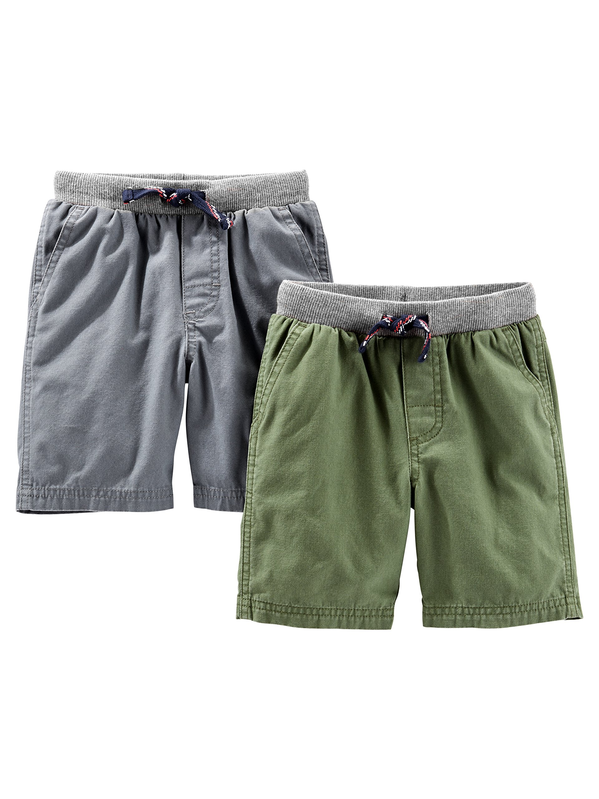 Simple Joys by Carter's Baby Boys' Toddler 2-Pack Shorts, Green, Gray, 2T