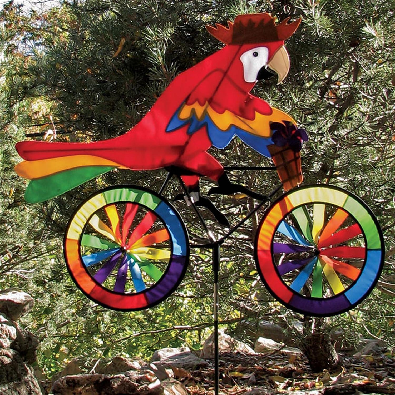 Windspiel - Biker PAPAGEI - UV-beständig und wetterfest - Windräder: 2xØ30cm, Motiv: 96x70cm, Standhöhe: 114cm - inkl. Fiberglasstab und Bodendübel