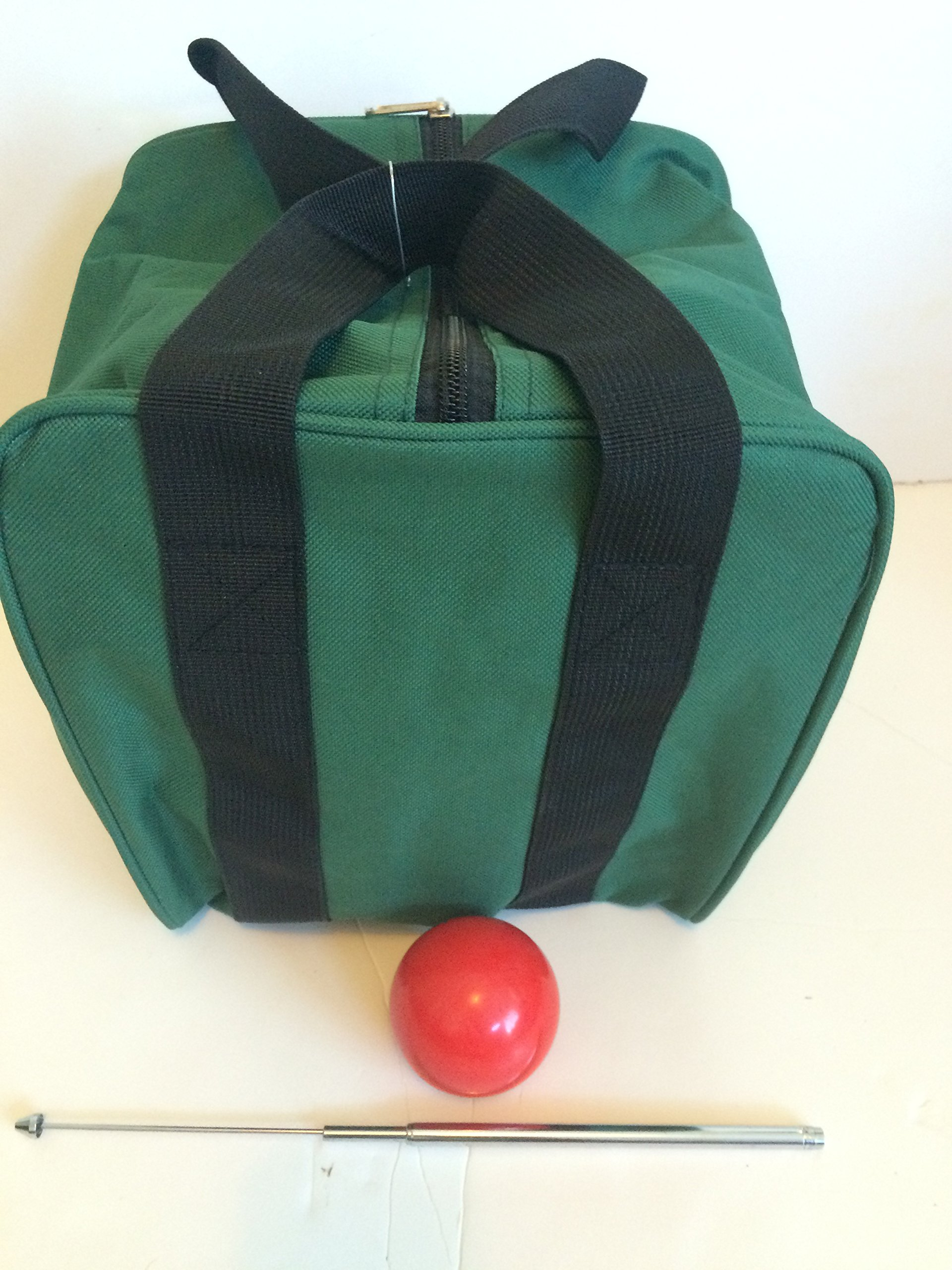 Unique Bocce Accessories Package - Extra Heavy Duty Nylon Bocce Bag (Green with Black Handles), red pallina, Extendable Measuring Device