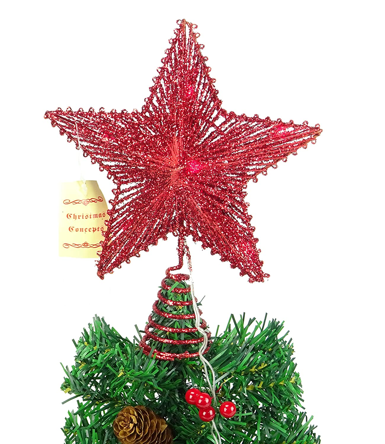 10 Gold Springy Star With Warm White Led Lights - Christmas Tree Top Star / Christmas Decoration Christmas Concepts® No Model
