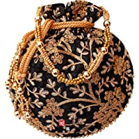 Milan's Creation: Designer Potli Golden Embroidery Bag Pearl Handle And Tassel Ethnic Purse Women's Handbag