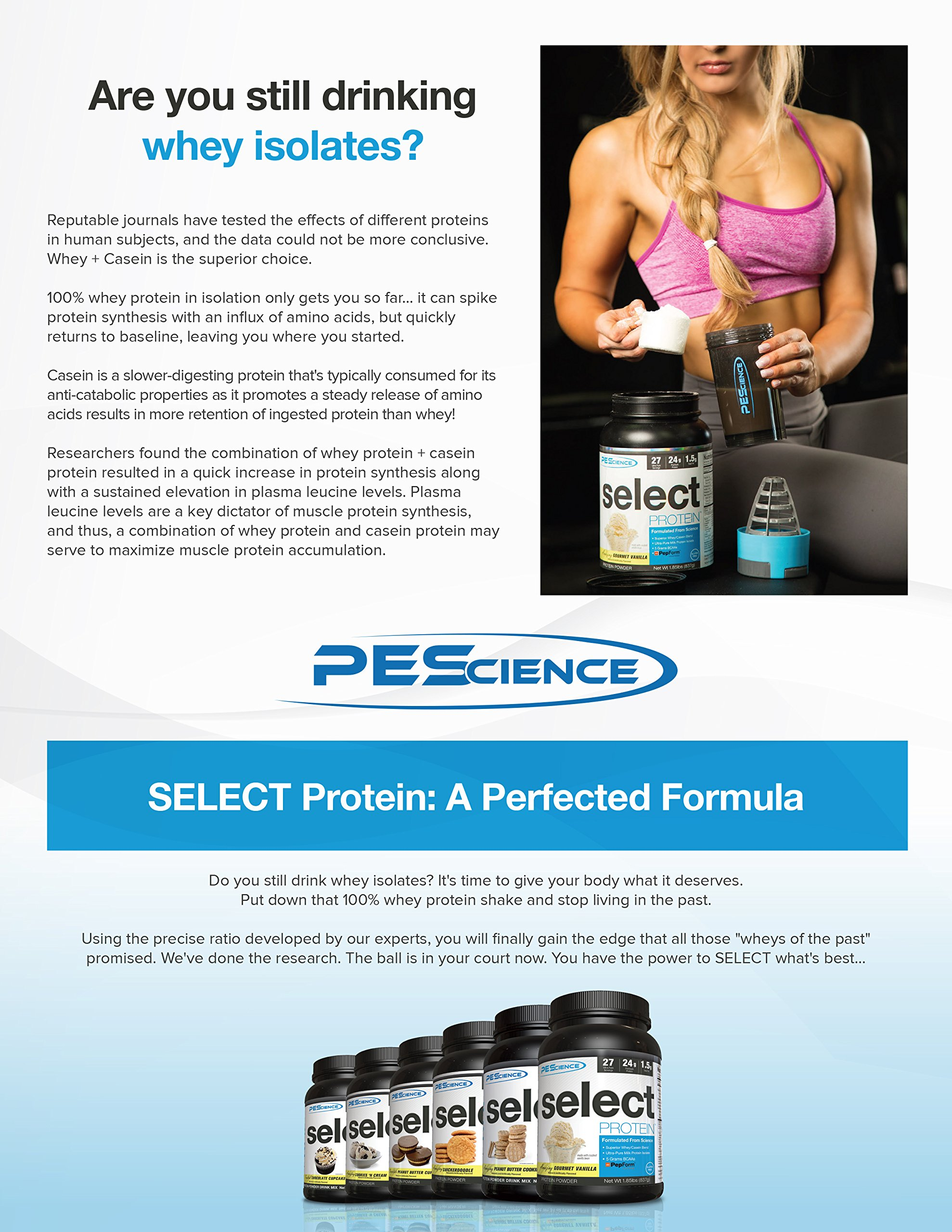 PEScience Select Protein Premium Whey and Casein Blend, Chocolate Peanut Butter Cup, 8 Ounce