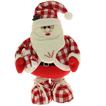 werchristmas 40 56 cm free standing christmas santa floor decoration with extendable legs in red - Free Standing Christmas Decorations