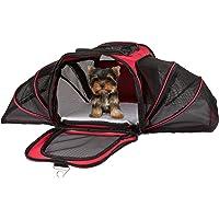"PETMAKER Airline Compliant Expandable Pet Carrier-17.5""x11""x11.25"" Travel Bag-Has View Window, Removable Pad, Leash, Detachable Strap by (Red)"