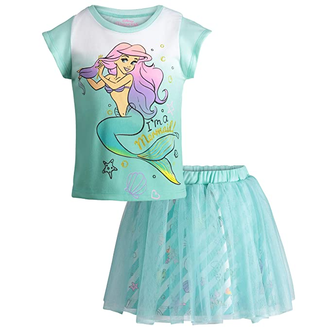 67aa04eb7847 Disney Little Mermaid Ariel Girls  Flutter Sleeve Tank Top   Skirt Clothing  Set