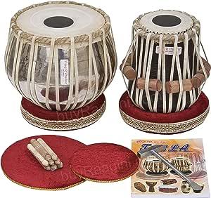 Tabla Set by Vijay Vhatkar, Concert Quality, 2.5 Kilograms Chromed Brass Bayan, Sheesham Tabla Dayan, Book, Hammer, Cushions, Cover, Tabla Drums Musical Instrument (PDI-BBE)