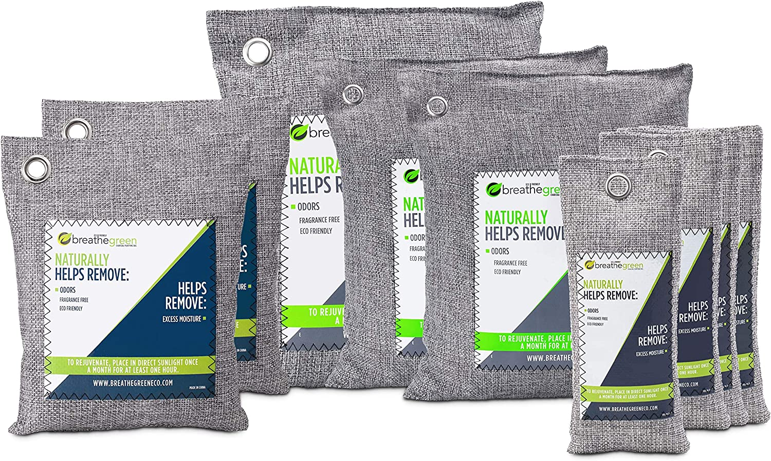Breathe Green Bamboo Charcoal Air Purifying Bags (9-Piece Value Pack), Activated Charcoal Odor Absorber, Natural Air Freshener Removes Odor and Moisture, Odor Eliminators for Home, Car, Garage, Shoes