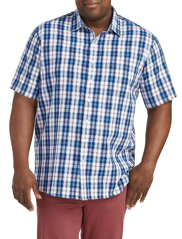 Harbor Bay by DXL Big and Tall Seersucker Plaid Sport Shirt