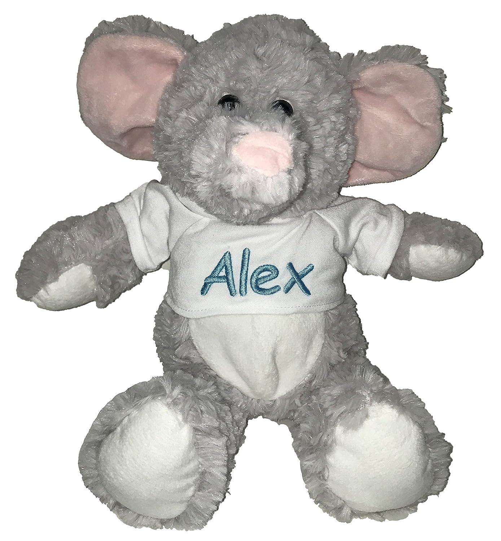 Personalized Elephant With T Shirt Sitting Plush Stuffed Animal Toy Baby Blue