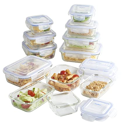 VonShef Glass Container Food Storage Set With Non BPA Lids, Assorted Sizes,  24 Piece