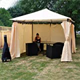 Kingfisher FSGHD Heavy Duty Garden Gazebo with Side Curtains - Beige