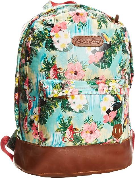 Leather Summer Tropical Flamingos Backpack Daypack Bag Women