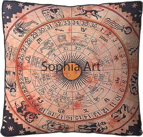 "35/"" Large Floor Cushion Pillow Cover Large Zodiac Mandala Room Decorative Throw"