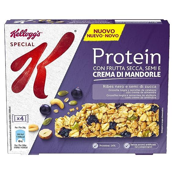 Kelloggs Barritas Special K Proteínas Grosella Negra and Semillas de Calabaza - 2 Paquetes de 4