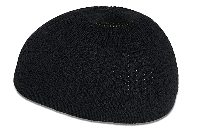 Elastic Kufi Hat Skull Cap with Wavy Threading in Multiple Designs and  Colors (Black) d19b57d0948