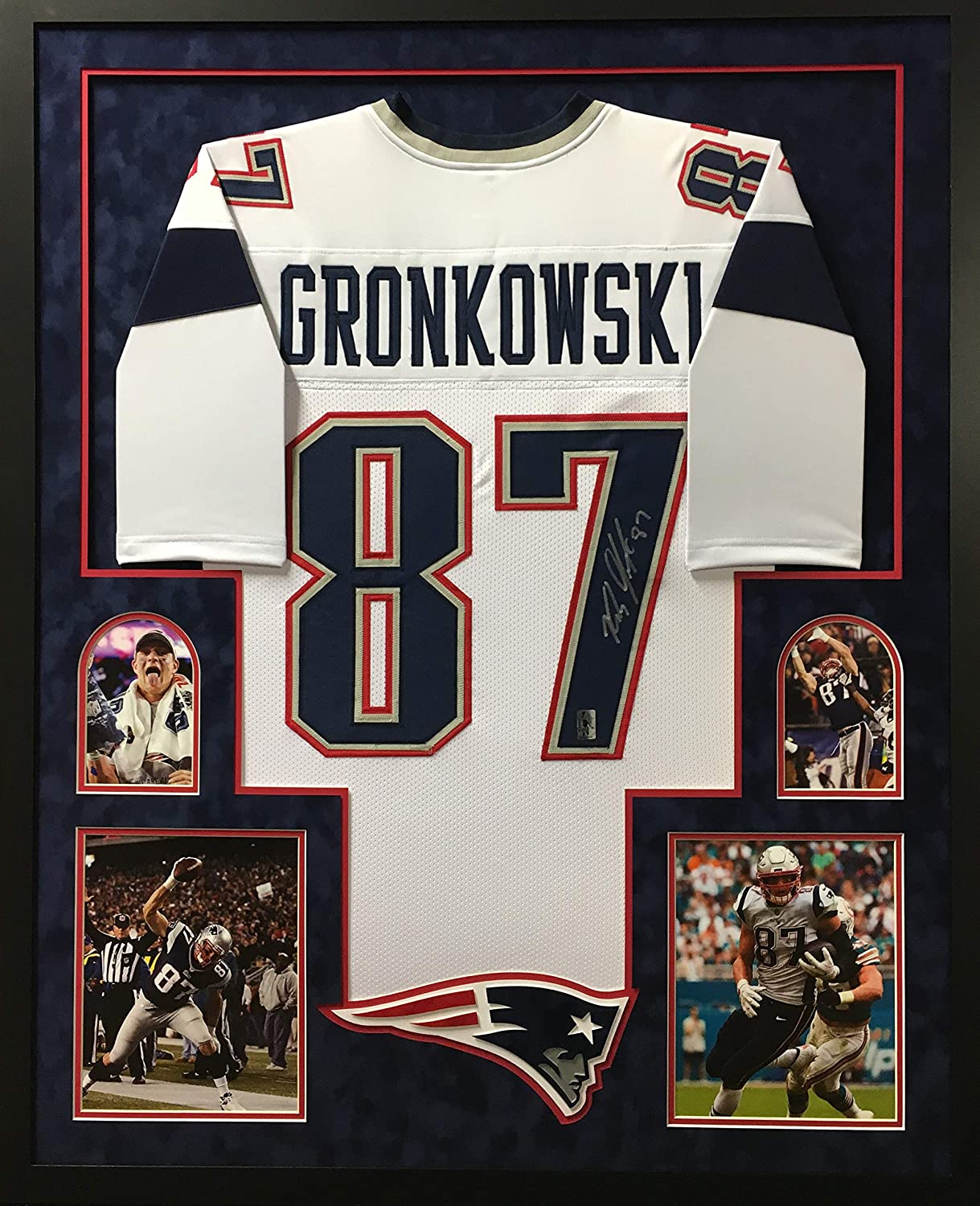Rob Gronkowski New England Patriots Autograph Signed White Custom Framed Jersey Suede Matted 4 Picture Gronk Hologram Certified
