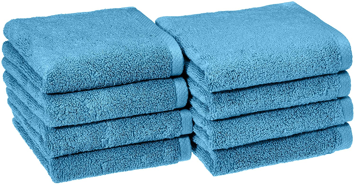 AmazonBasics Quick-Dry Hand Towels - 100% Cotton, 8-Pack, Lake Blue