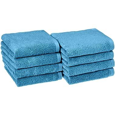 AmazonBasics Quick-Dry Hand Towels, 100% Cotton, Set of 8, Lake Blue