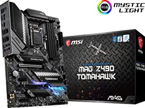 MSI MAG Z490 Tomahawk Gaming Motherboard (ATX, 10th Gen Intel Core, LGA 1200 Socket, DDR4, CF, Dual M.2 Slots, USB 3.2 Gen 2, Type-C, 2.5G LAN, DP/HDMI, Mystic Light RGB)