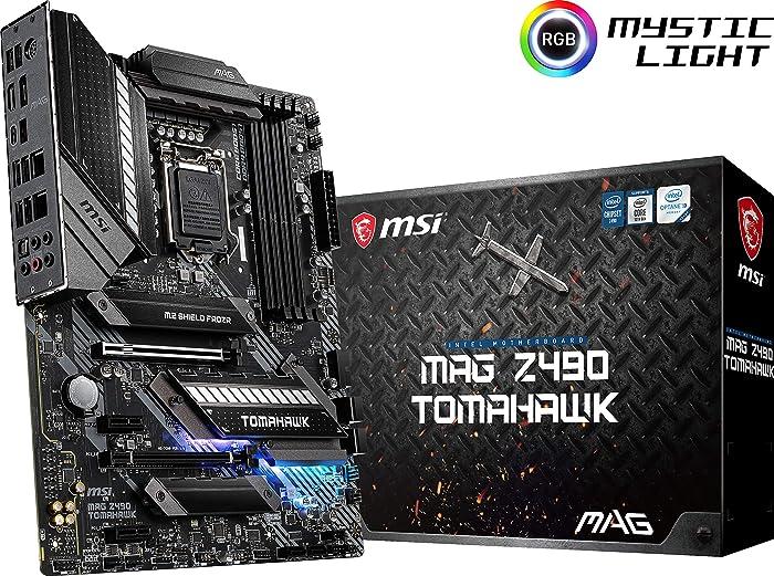 MSI MAG Z490 Tomahawk Gaming Motherboard (ATX, 10th Gen Intel Core, LGA 1200 Socket, DDR4, CF, Dual M.2 Slots, USB 3.2 Gen 2, Type-C, 2.5G LAN, DP/HDMI, Mystic Light RGB)