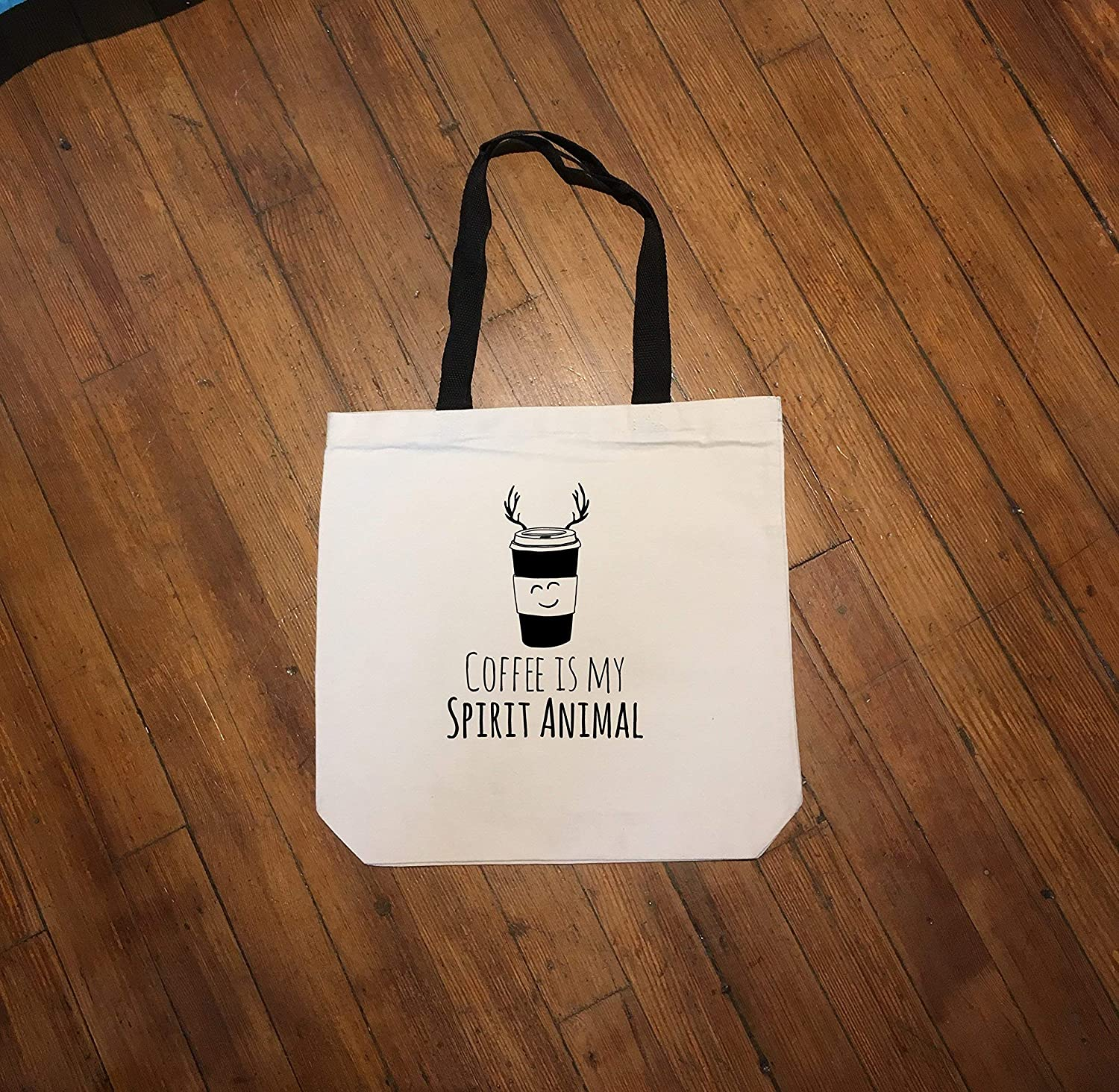Coffee Is My Spirit Animal, Funny Natural Canvas Tote Bag
