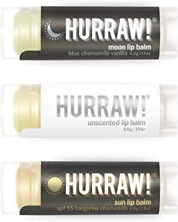 product image for Hurraw! Moon Night Treatment, Unscented, Sun Protection SPF 15 Lip Balms, 3 Pack Bundle: Organic, Certified Vegan, Cruelty & Gluten Free. Non-GMO, 100% Natural. Bee, Shea, Soy & Palm Free. Made in USA