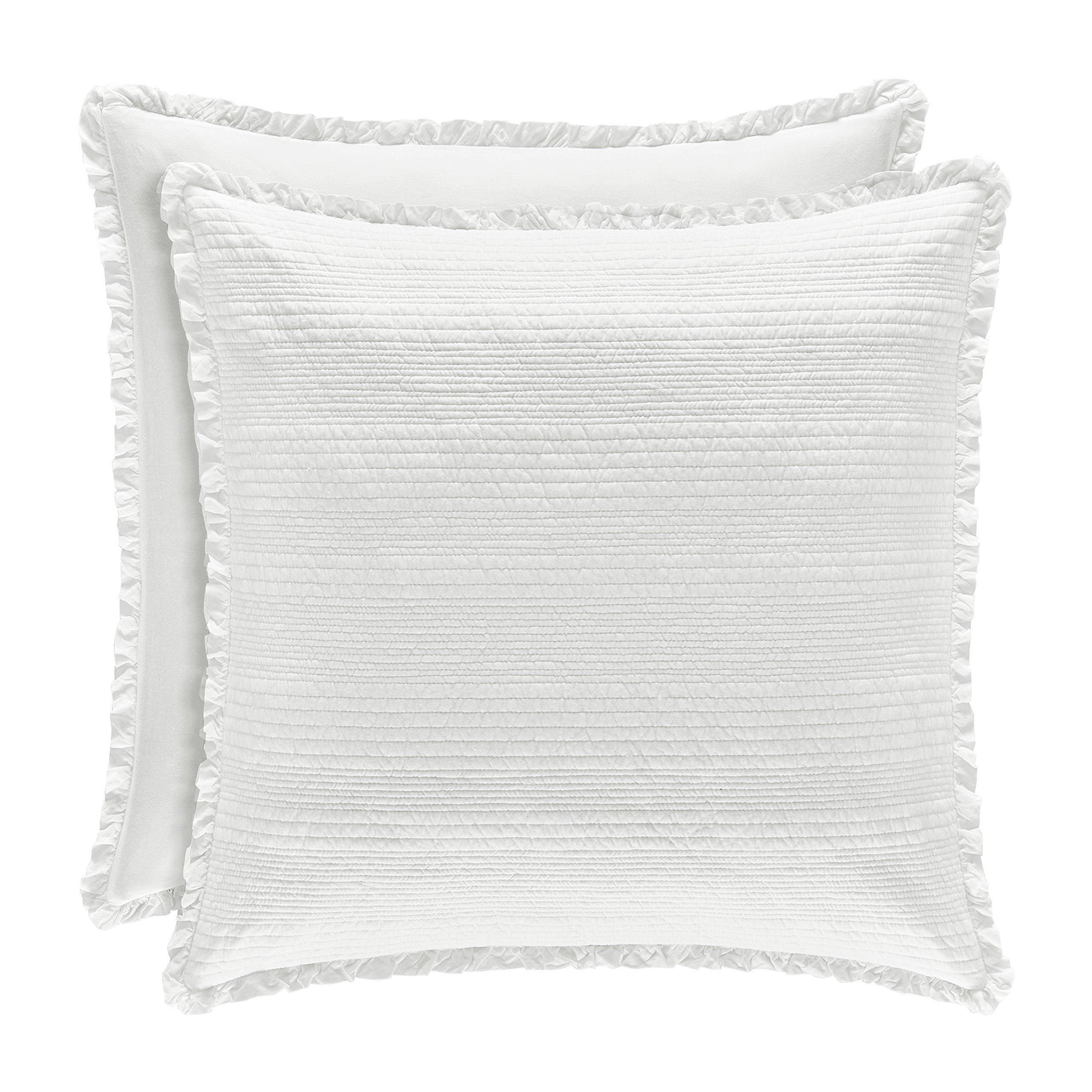 Five Queens Court Hattie Country Chic 100% Cotton Ruffle Flange Quilted Euro Sham, White