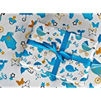 """Gift Wrapping Paper 30"""" x 84"""" Sheet Vintage Style (Baby Boy)"""