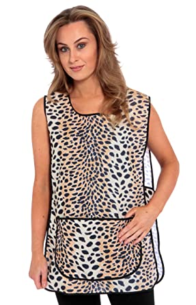 155b0f38a01 Ladies Tabard Leopard Animal Print Overall Apron Domestic Cleaning Cafe  Wear  Amazon.co.uk  Clothing