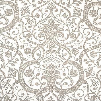 Tissu en lin imprimé - beige / taupe sur fond blanc - un motif ...