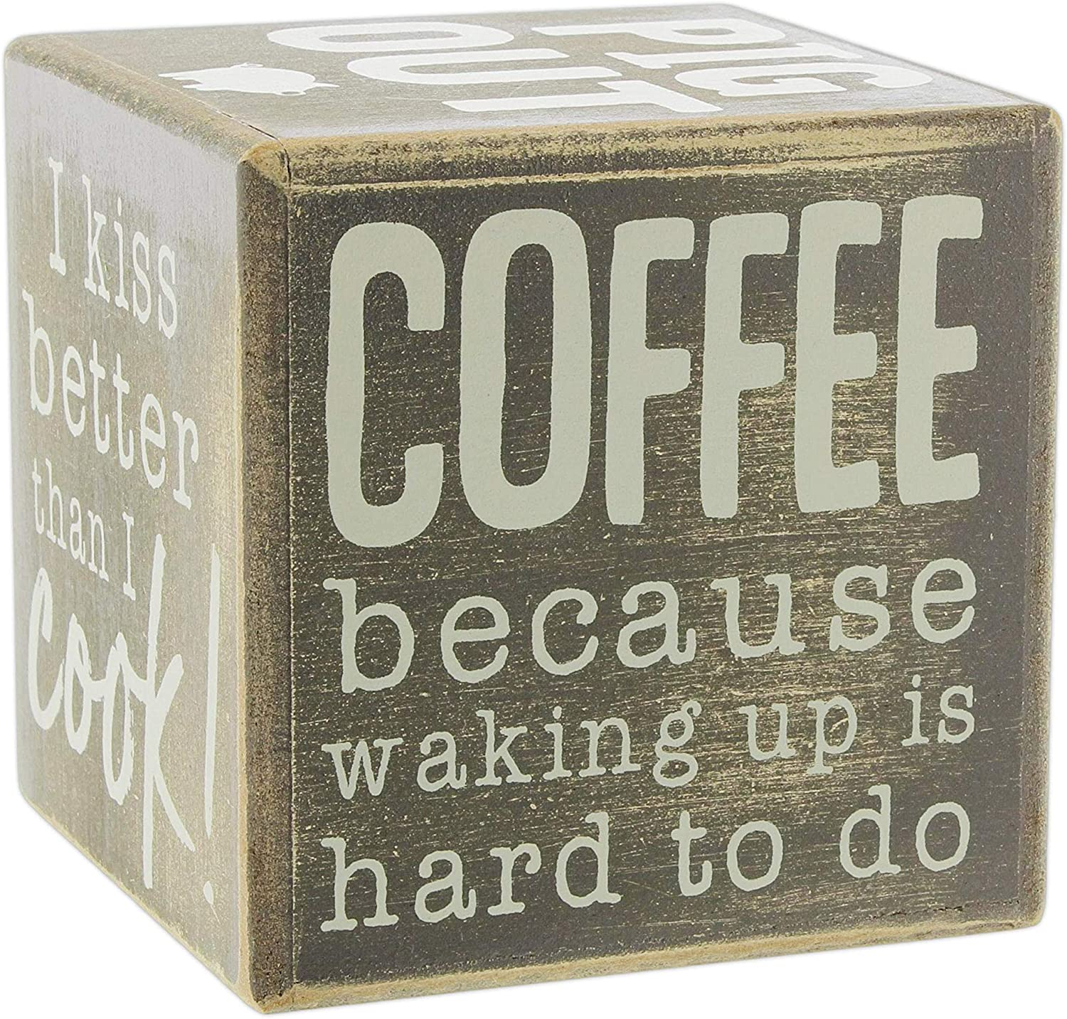 The Bridge Collection Funny 6-Sided Wood Block Sign (Kitchen)