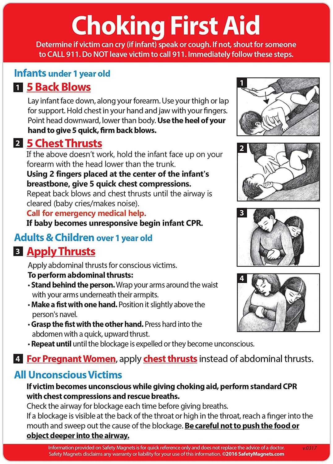 Choking First Aid Instructions Magnet -Infant, Child, and Adult - 5 x 7 in.