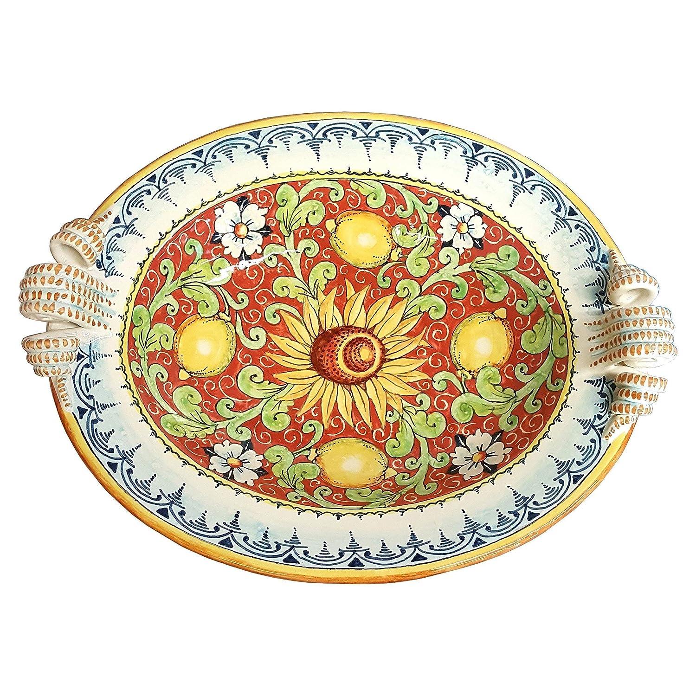 CERAMICHE D'ARTE PARRINI - Italian Ceramic Centerpiece Bowl Lemon Art Pottery Painted Made in ITALY Tuscan