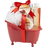 Pomegranate Bath and Body Spa Basket The Perfect Nourishing, Refreshing Aromatherapy Scent Your Skin Will Love, Luxury Spa For Her, Bath Salts, Body Lotion, Shower Gel, Bubble Bath and Puff