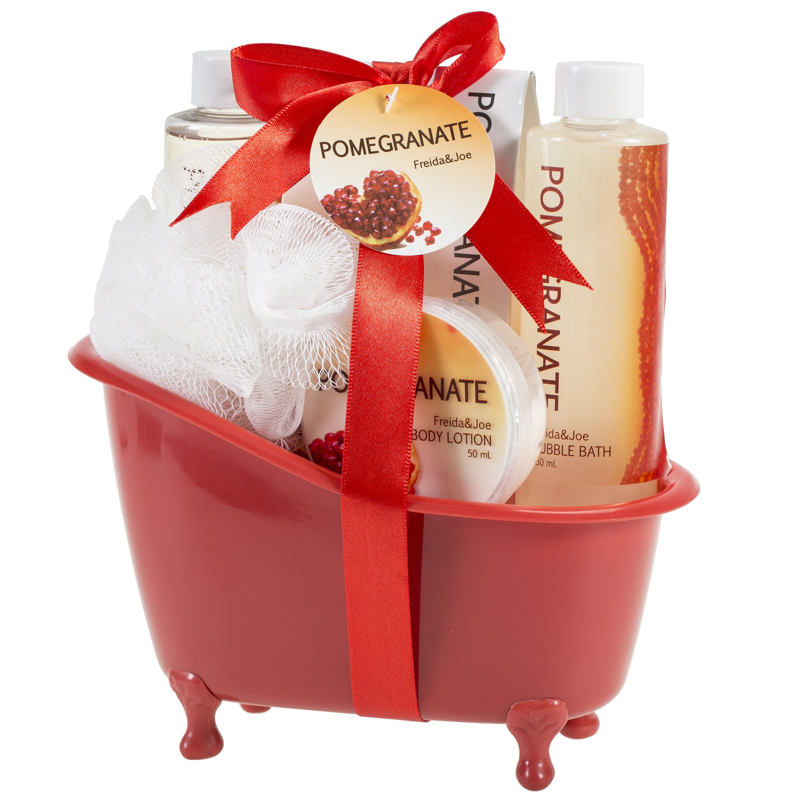 Freida and Joe Relaxing Aromatherapy Pomegranate Scent Fragrance Spa Gift Set Basket, Contains Shower Gel, Bubble Bath, Body Lotion, Bath Salt, Puff, with Shea Butter & Vitamin E, Perfect for Women