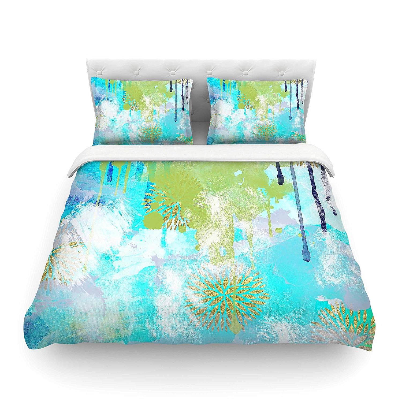 Kess InHouse Li Zamperini Tropical Green Aqua Queen Featherweight Duvet Cover 88 x 88 88 x 88 LZ1044ACD02
