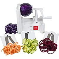 Paderno World Cuisine Spiral Vegetable Slicer/Countertop-Mounted Plastic Spiralizer Basic incl. 3 Different Blades Made of Stainless Steel