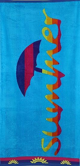 BETZ Toalla de Playa de Terciopelo Toalla de Baño XXL 100% Algodón Tamaño 75x150 cm Diseño Summer de Color Turquesa: Amazon.es: Hogar