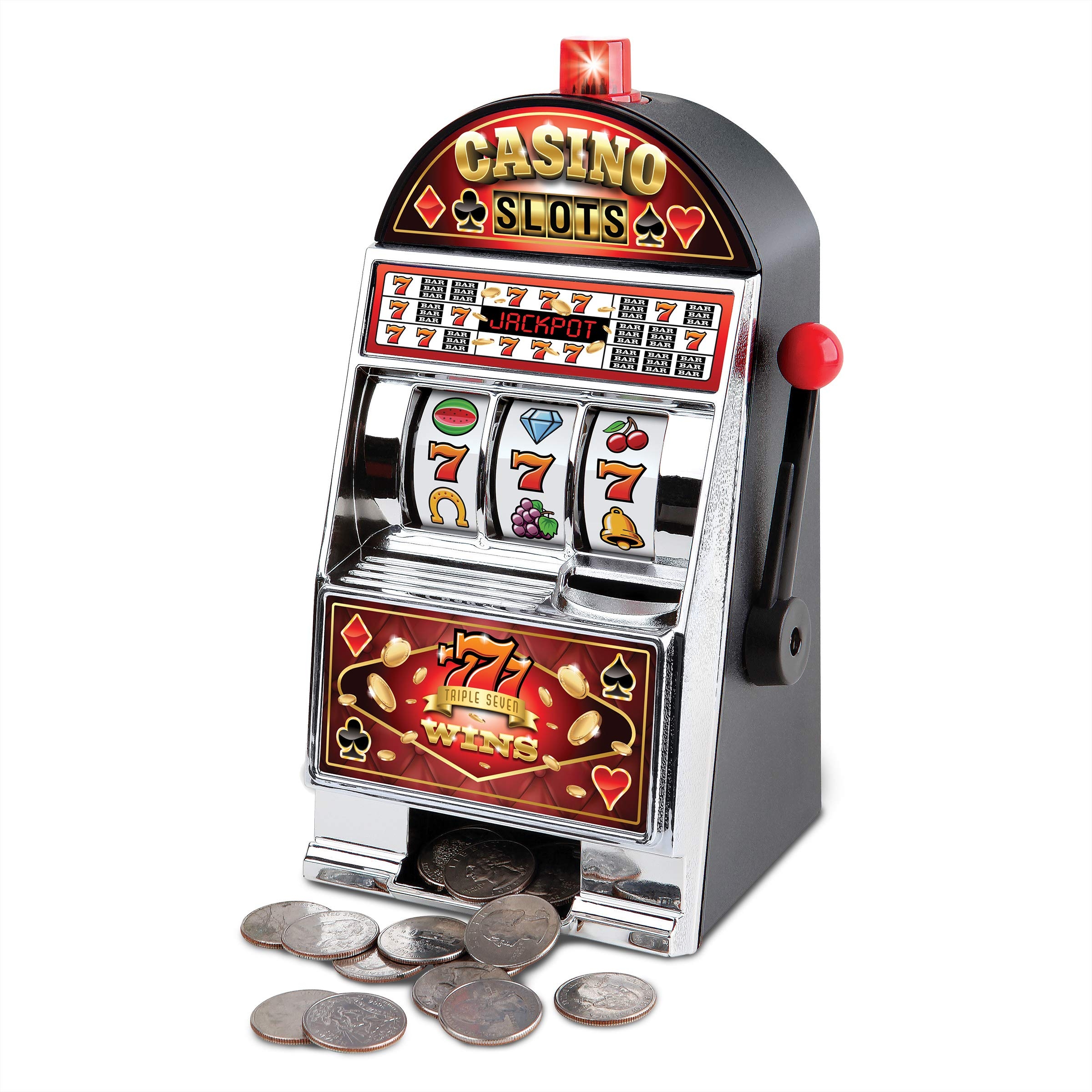 Sharper Image Electronic Casino Slot Machine Coin Bank, Turn Saving to a Game, LED Lights and Sound Effects, Real Spinning Reels, Pays Out on a Win, Fun Piggy Bank, Home Décor for Man Cave or Bar by Sharper Image