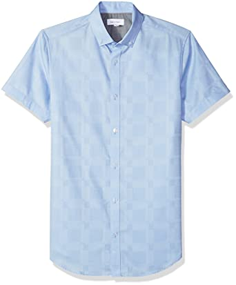 Calvin Klein Mens Luxe Cotton Linen Two Button Blazer,Little Boy Blue,Large