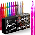 Metallic Paint Pens for Rock Painting, Stone, Ceramic, Glass, Wood, Fabric, Scrapbook Journals, Photo Albums, Card Stocks Set of 12 Acrylic Paint Markers Extra-Fine Tip 0.7mm