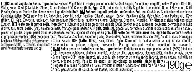 Marca Amazon - Wickedly Prime Pesto de hortalizas asadas (6x190g ...