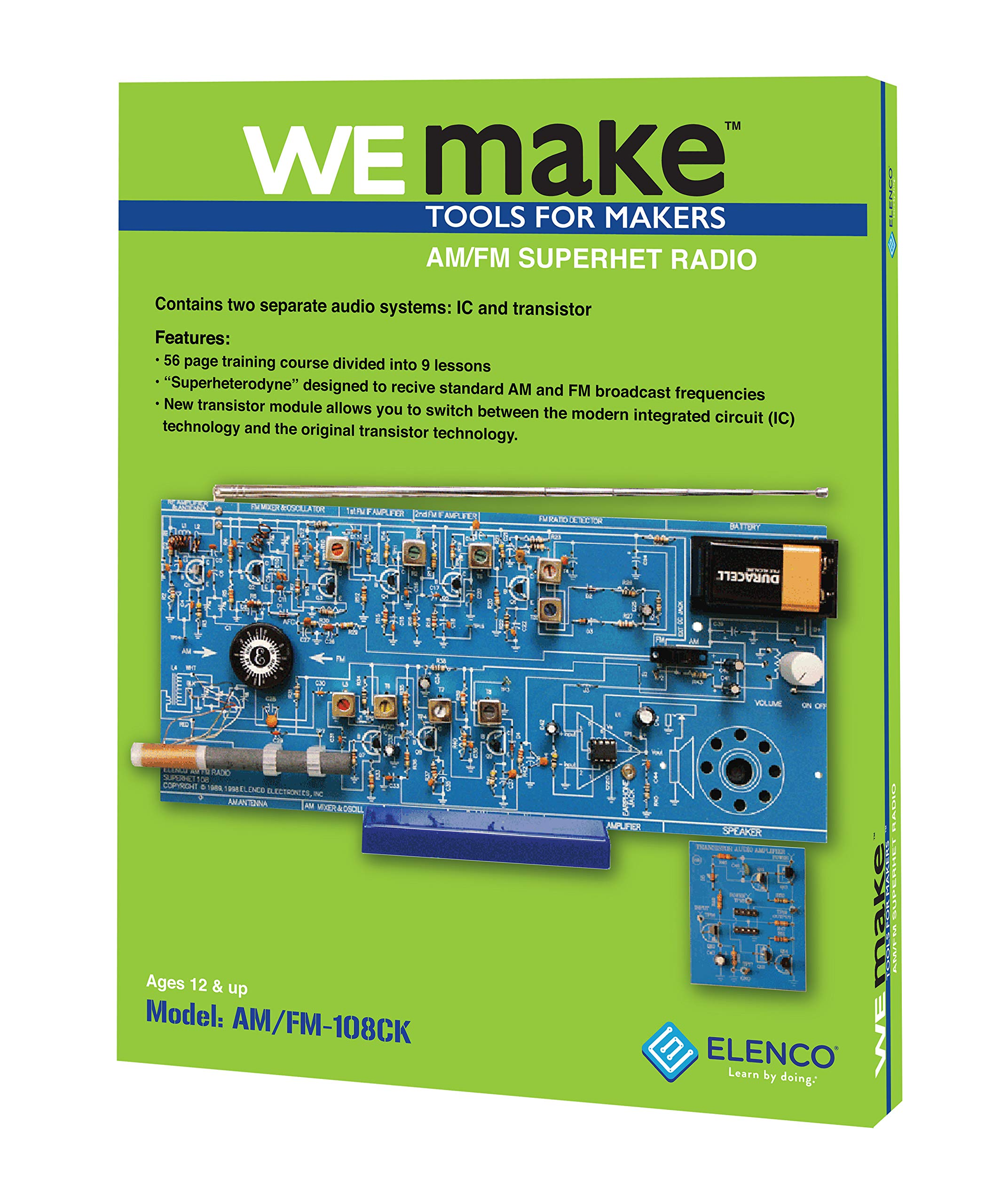 Elenco  AM/FM Radio Kit |Switch Between ICs & Transistors | Lead Free Solder | Great STEM Project | Superheterodyne Designed to AM and FM Broadcasts | SOLDERING REQUIRED by Elenco