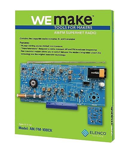 Elenco AM/FM Radio Kit  Switch Between ICs & Transistors   Lead Free Solder    Great STEM Project   Superheterodyne Designed to AM and FM Broadcasts  