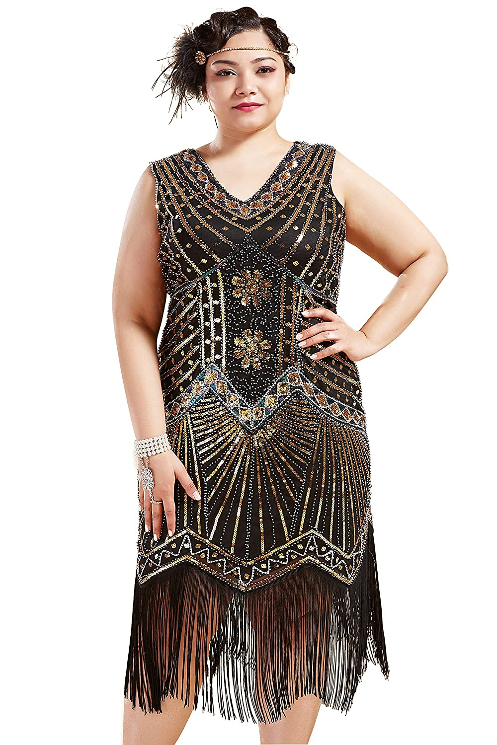 1920s Plus Size Flapper Dresses, Gatsby Dresses, Flapper Costumes BABEYOND Womens Plus Size Flapper Dresses 1920s V Neck Beaded Fringed Great Gatsby Dress $45.99 AT vintagedancer.com