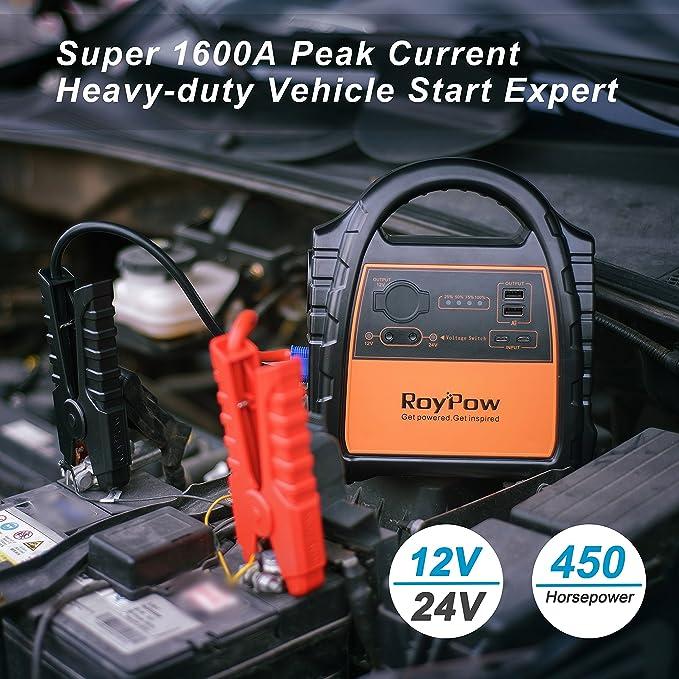 [actualizado capacidad] RoyPow J24 12 V 24 V Heavy-duty V6 y V8 V12 vehículo Jump Starter experto integrado Ultra brillante 200 M Osram linterna antorcha, ...